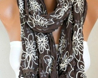 ON SALE --- ON Sale - Brown Floral Scarf Teacher  Gift Shawl Cotton Summer Cowl Embroidered Gift Ideas For Her Women's Fashion Accessories