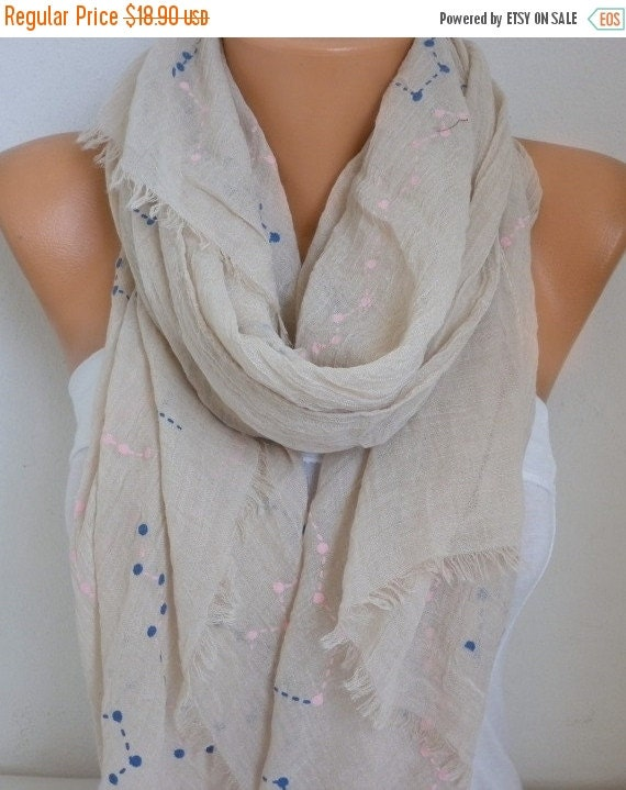 ON SALE --- Neutral Beige & Pink Cotton Soft Scarf,Fall, Bridal Accessories, Bridesmaid Gifts, Gift Ideas For Her, Women Fashion Accessories