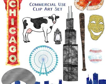 Chicago Clip Art, Watercolor Chicago Clip Art American Cities, Commercial Use