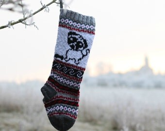 Knit Pug Christmas Stocking, Dog Holiday Sock, Fair Isle knit, Grey Christmas Decor, Santa Sock Pug, FairIsle Pug Sock (Ready to Ship) GRR