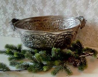 Silver Plated Fruit Bowl, Tarnished Hammered Oval Bowl, Vintage Silver Embossed Basket