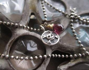Dainty skull charm necklace - Tiny Bones - garnet gemstone dangle sterling silver gold fill everyday lightweight yoga boho by slashKnots