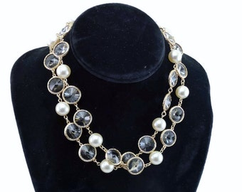 Rare Vintage CHANEL Faux Glass Pearl & OVERSIZED Double Point Crystal Necklace