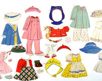Vintage Paper Doll Girls Clothing, 26 pieces (c.1940s) - Doll Ephemera, Collectible Doll, Paper Projects