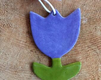 Pastel Purple Tulip Decoration /Flower/Hanging Ceramic Tulip/Ceramic Decoration/ornament.Easter gift.Porcelain ornament/Made in Wales,Uk