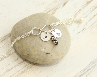 Sterling Silver Two Peas In A Pod Bracelet with Personalized Initials