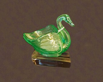 Vintage Swan Figurine, Dugan Swan, Dugan Carnival Glass, Ice Green Glass, Collectible Glass Swan, Home Decor, Vanity Decor,