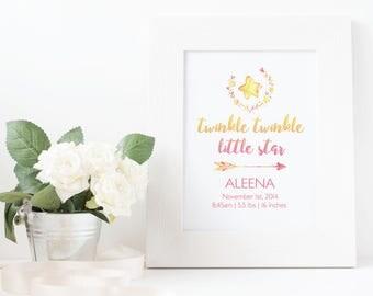 Twinkle Twinkle Little Star Printable, Birth Stat Wall Art, Nursery Art, personalize wall art, Twinkle Twinkle