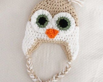 Crochet Owl Hat Pattern Newborn to 18 Months PDF