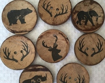 "ON SALE 3 Buttons large coconut buttons 2"" (50mm) diameter set of 3 forest friends animal silohuettes buck deer antlers woodland"