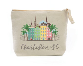 Charleston South Carolina Cosmetic Bag - Bridal Party Cosmetic Bag - Wedding Party Makeup Bag - Zippered Pouch