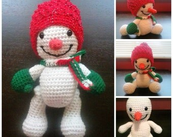 Large Amigurumi Jointed Snowman Snowwoman with Removable Beanie, Scarf, and Mittens
