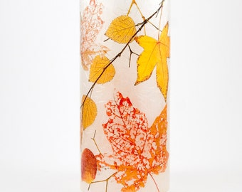 Autumn Leaves (1 medium size) candle cuff with 1 free Electric Tea Light.  Thanksgiving table decoration.  Fall leaves LED lighting.
