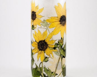 California Sunflowers candle cuff.  1 medium size with 1 free Electric Tea Light.  Candle holder for electric tea lights.  LED outdoor light