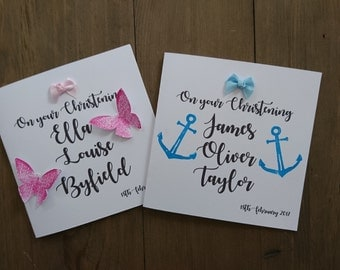 Christening card, Blessing card, Baptism card, Boy Christening, Girl Christening, Butterflies, Butterfly, Anchors, Sailor, Nautical, Kite