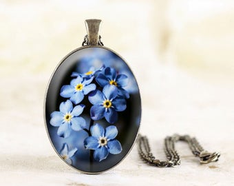 Forget Me Not Necklace - Blue Flower Jewelry, Bronze Forget-Me-Not Jewelry Pendant, Flower Memorial Necklace Pendant, Remembrance Jewelry