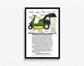 John Deere • Economy Rider • Vintage Home Decor Ad • 1980s Riding Lawnmower • Nothing Runs Like a Deere • 80s Rustic Farm To Frame Piece