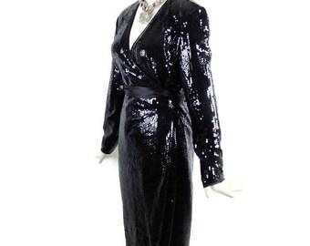 Rare Vintage DESIGNER HENRI BENDEL Tom and Linda Platt Celebrity Red Carpet Black Sequins Dress Size 6-8