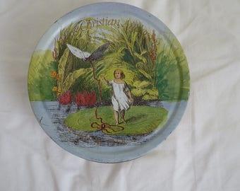 Vintage round Hans Christian Andersen danish butter cookie tin 1995