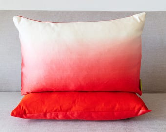"""Pink White Ombre Cushion with Red Back in Upcycled Vintage Japanese Kimono Silk,  DECO Vibrant Accent Pillow, 12""""x18"""" Rectangular Ltd Ed ECO"""