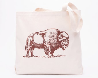 Bison Large Canvas Shopper Tote - Reusable Grocery Tote Bag - Canvas Tote Bag - Screen Printed Cotton Grocery Bag