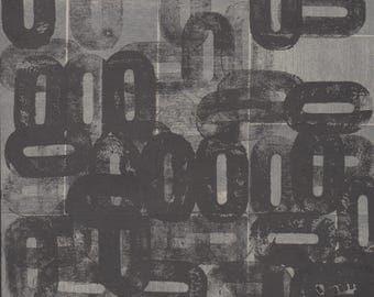 "Monoprint. LetterPress Print . Black + Gray  Minimalist Home Decor: ""Seventeen.  Print Size 8.5"" x 8.5"""