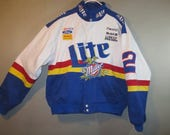 MILLER Lite NASCAR Jacket// Ford, Bosch Plugs // White, Blue Red Yellow // Chase Authentics ...large