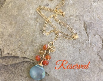 Summer Sunset Multicolor Gemstone Necklace Orange Blue Necklace Gemstone Jewelry Citrine Carnelian Blue Chalcedony Necklace Gold Jewelry