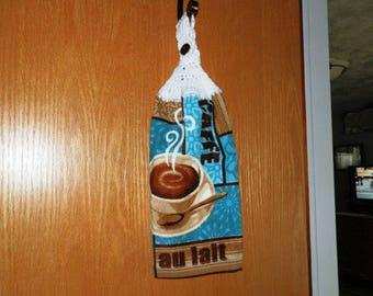 Crochet Hand Towel- Cafe au Lait Theme-White top