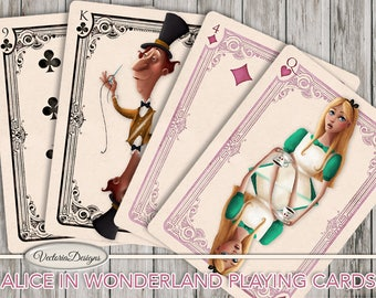 Printable Alice in Wonderland playing cards full deck paper crafting scrapbooking craft instant download digital collage sheet - VDPCAL1613
