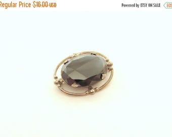 ON SALE Vintage Hematite Brooch in White Metal Setting - Metallic Gemstone Pin