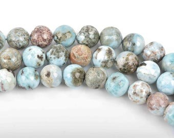 8mm NATURAL LARIMAR Round Beads, full strand, about 48 beads, glr0003