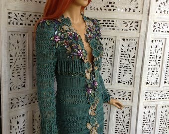 2  PAYMENT dress handmade sexy crochet embroidered sequin fairy dress in green silk OOAK party wedding diner awesome dress by golden yarn