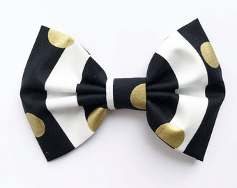 XL Bow Tie Headband or Clip Black & White Stripes with Gold Dots - XLarge Bow Tie Headband - girl, baby, toddler, woman, bow, jewel tones