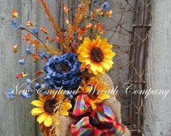 ON SALE Autumn Wreath, Fall Floral Wreath, Thanksgiving Swag, Harvest Wreath, Fall Designer Wreath, Sunflower Swag