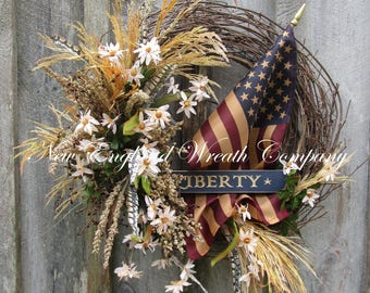 Patriotic Wreath, Americana Wreath, 4th of July Wreath, Memorial Day Wreath, Woodland Patriotic Wreath, Military Wreath, Tea Stained Flag