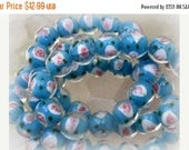 CLEARANCE LAMPWORK SKY Blue With Pink and White Design - 34 Beads  12 mm