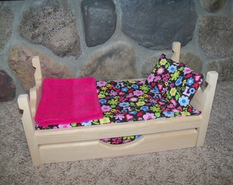 """12 pc Doll Bed & Trundle furniture set made for 18"""" dolls American Girl, 2 pillows/cases, 2 mattresses/sheets, 2 blankets, Flower set B"""