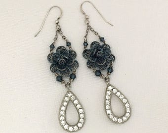 Long Dangle Rhinestone Flower Earrings - Unique Handmade Vintage Upcycled Earrings - Blue Flower Dangle Earrings - Summer Floral Earrings