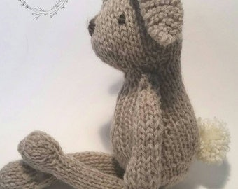Hunny The Hand Knit Wool Bunny Rabbit Stuffed Animal Hand Knit Toy