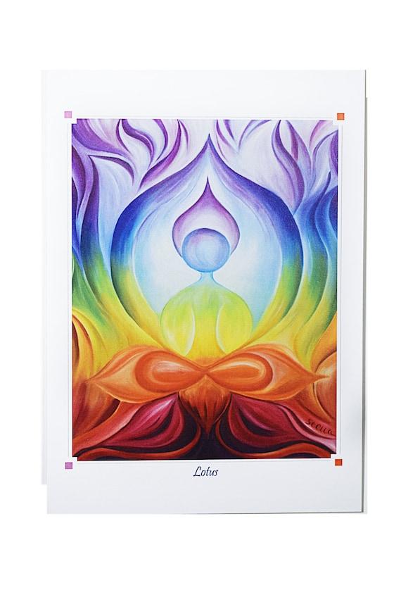 YOGA ART Greeting Card LOTUS Pose - 5x7 from Original Oil Painting, yoga studio decor, home decor