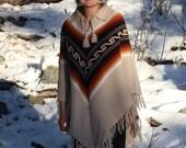 Vintage 1960s 1970s // Southwestern Chevron Patterned Knit Poncho // One Size