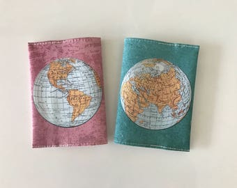 World Map Passport Cover - A set of 2 passport covrers - for him and for her - Passport case with a print of an ancient map of the world