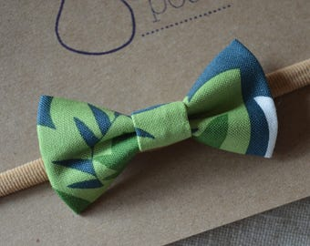 Baby Headband - Newborn Headbands - Bow Headband: Green and Dark Blue