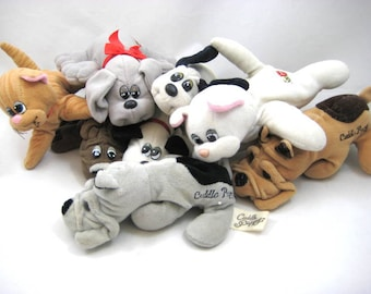 Vintage Pound Purries, Pound Puppies, Cuddle Puppys, Lot of 8 Plush Puppy Dogs & Kittens, Tonka Rumple Skin, Instant Collection