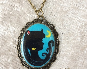 Sailor Moon Handpainted Silhouette  Cameo Necklace