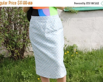 SALE Light Blue Mod Tube Skirt/Mid Skirt