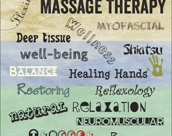 """Massage Therapy Words Poster 18"""" X 24"""""""