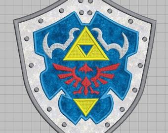 Zelda Machine Embroidery Applique Design - Hylian Shield 5x7