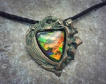 Bronze PMC and Rainbow Ammolite Necklace.